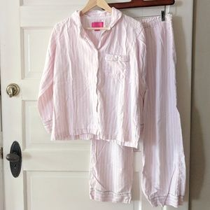 Victoria's Secret Pink White Striped PJ Set